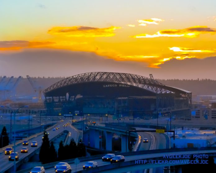 Safeco Field sunset, 2013