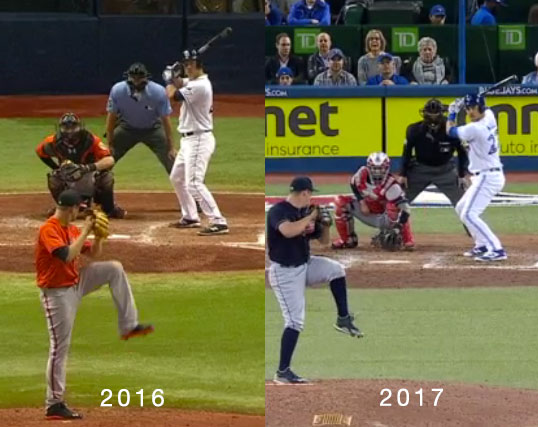 Luke Maile 2016 vs 2017 batting stance